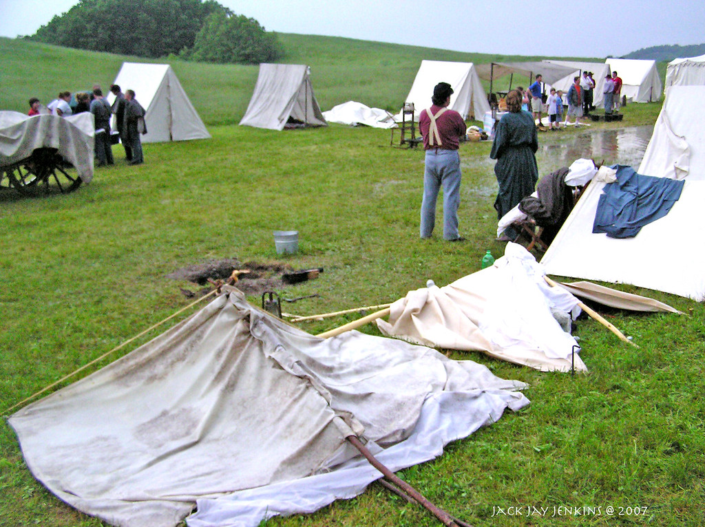 Tents knocked down by the storm.